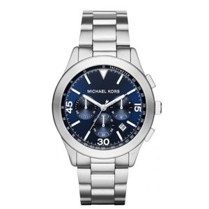 NWT MK GARETH SILVER BLUE CHRONOGRAPH MENS WATCH